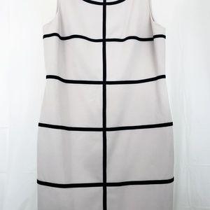 Sleeveless tan and black stripes sheath work wear
